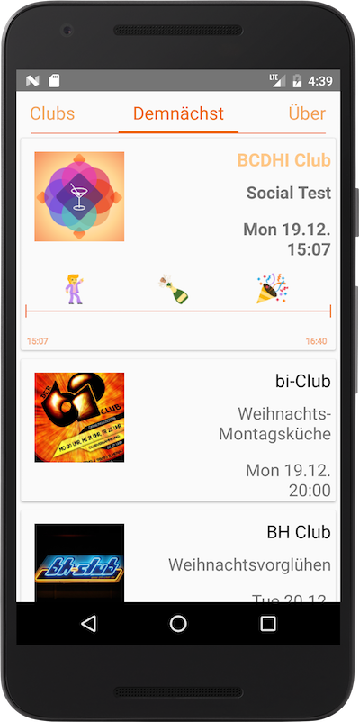 Image of Android device showing a page containing events that will take place in the upcoming week.